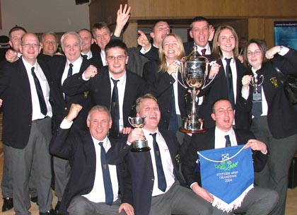 Members of the Hepworth band celebrate their victory