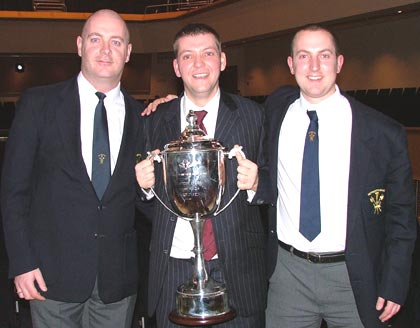 Mark Bentham [centre] with members of the Hepworth Band
