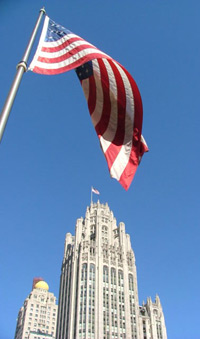 US Flag and building