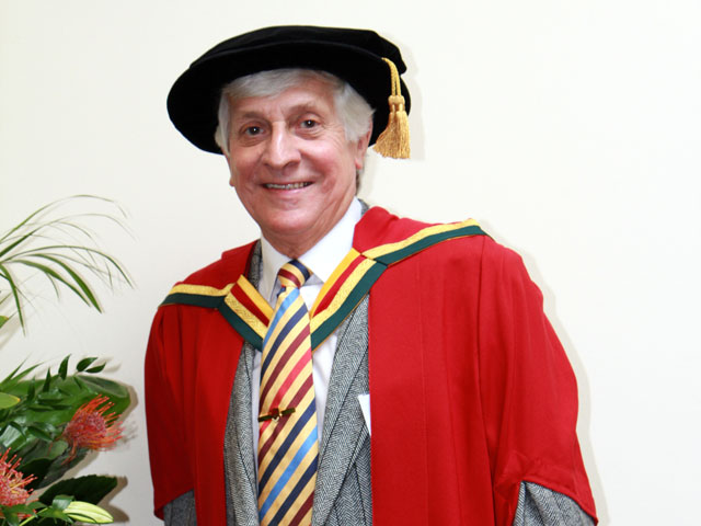 David Kaye President of Wingates Band receiving his Honorary Doctorate (image courtesy of 4barsrest website)