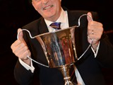 Allan Withington with the Stanley Boddington Memorial Trophy as winning conductor