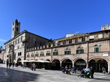 Piazza del Popolo is the city square in Ascoli Piceno Italy